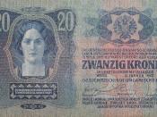 20 Kronen-banknote from 1913 from Austria-Hungary; in Czech, Polish, Ruthenian (Ukrainian), Italian, Slovene, Croatian, Serbian, Romanian; the back side is in Hungarian