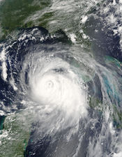 Concentric eyewalls seen in Hurricane Katrina as it travels west through the Gulf of Mexico.