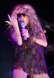Paulina Rubio. Performing a live concert in the Asics Music Festival, Barcelona, October 2007.