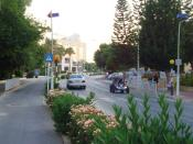 English: Hotel in Agia Napa road in the summer Republic of Cyprus