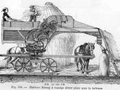 Drawing of a horse-powered thresher from a French dictionary (published in 1881)