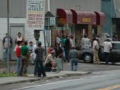 English: August 5, 2006, day laborers on Marvin Avenue in Brewster.