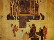 8th century fresco at Mogao Caves near Dunhuang in Gansu Province. Depiction of the Han Emperor Wu worshiping statues of the Buddha. Attached textual description of