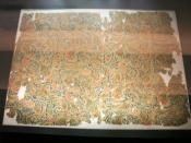 Cloud-patterned silk from the Tomb No. 1 at Mawangdui, Changsha, Hunan province, China, dated to the 2nd century BC during the Western Han Dynasty (202 BC - 9 AD).