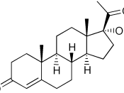 Chemical structure of 17-hydroxyprogesterone created with ChemDraw