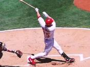 Mark McGwire, St. Louis, 2001. This picture was taken during a Saturday afternoon game against Detroit on July 14, 2001. It depicts McGwire's 10th home run of the season and 564th of his career, moving him ahead of Reggie Jackson for sixth on the all-time