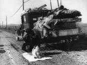 Missouri migrants living in a truck in California. Many displaced people moved to California to look for work during the Depression. John Steinbeck depicted the situation in The Grapes of Wrath