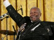 English: Blues guitarist B.B. King following a performance at the White House