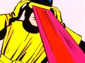 Cyclops projecting an optic blast. Art by Jack Kirby.