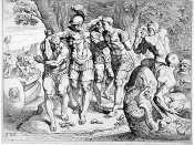 English: 18th-century French engraving of Odysseus (Ulysses) on the island of the lotus-eaters.