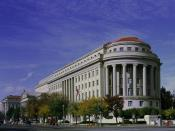 The Apex Building, headquarters of the Federal Trade Commission, on Constitution Avenue and 17th Streets in Washington, D.C.. The building was designed by Edward H. Bennett under the purview of Secretary of the Treasury Andrew W. Mellon, and was completed