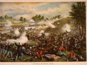 English: First Battle of Bull Run, chromolithograph by Kurz & Allison
