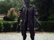 The Defeated Varus (2003), a sculpture by Wilfried Koch in Haltern am See, Germany.