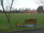 English: Flintham Pavilion The sports ground would originally have belonged to the neighbouring airbase, but is now owned by the local community. The new pavilion was built in 2004 with assistance from Sport England.