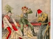 English: Illustration from the French magazine Le Petit Journal on the Bosnian Crisis: Bulgaria declares its independence and its prince Ferdinand is named Tsar, Austria-Hungary, in the person of Emperor Francis Joseph, annexes Bosnia and Herzegovina, whi