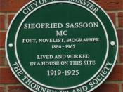 Green plaque on Siegfried Sassoon's house in Tufton Street, Westminster, London. Photographed by me 24 February 2007.
