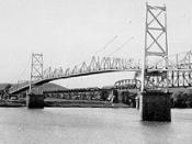 Silver Bridge in Point Pleasant, West Virginia which collapsed into the Ohio River on December 15, 1967, killing 46 persons.
