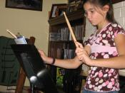 Cayla practicing her Neil Peart-like drum fills
