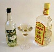 A martini: gin, vermouth, olive. Español: Ingredientes del Dry Martini. Italiano: Martini Dry. Nederlands: Een martini bestaande uit 5 delen gin, 1 deel vermout en een olijf. Српски / Srpski: Мартини са својим основним састојцима. Türkçe: Martini.