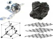 Diamond and graphite samples with their respective structures