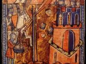 English: Siege of Nicaea. Crusaders Throwing Heads Of Muslims Over Ramparts Deutsch: Belagerung von Nikäa. Kreuzfahrer schleudern die Köpfe getöteter Türken in die Stadt. Miniatur aus dem 13. Jahrhundert