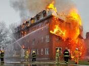 A fire in Massueville, Quebec, Canada.