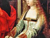 Possible imagen de Isabel la Católica, reina de Castilla (о Santa Catalina de Alejandría), en el retablo «La Virgen de la Mosca» («Sagrada Familia con Santa Magdalena y Santa Catalina»).