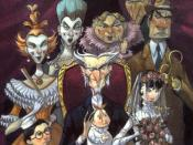 Count Olaf, his theater troupe, and the Baudelaire orphans, as illustrated by Brett Helquist (left to right): the white-faced women, the one who looks like neither a man nor a woman, the bald man with the long nose, the hook-handed man, Klaus Baudelaire,