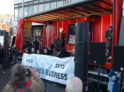 Trade Union official Mick O'Reilly on stage at May Day Rally 2013