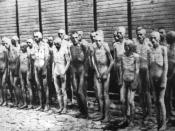 Soviet POWs standing before a barracks in Mauthausen Concentration Camp, Austria