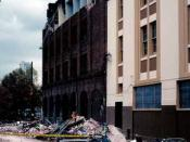 Aftermath of the 1989 Loma Prieta Earthquake: photograph of a collapsed facade of a building on Sixth St near Bluxome St in San Francisco