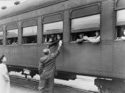 Los Angeles, California. The evacuation of Japanese-Americans from West Coast areas under U.S. Army war emergency order. Leaving for Owens Valley