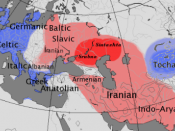 Indoeuropean Language around 2500 Before Present = 500 Before Christ. Centum languages are in blue, Satem languages are in red