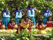 Hula kahiko performance at the pa hula in Hawaii Volcanoes National Park