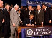 President George W. Bush signs the Homeland Security Appropriations Act of 2004 on October 1, 2003.