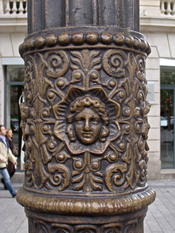 detail of a street lamp in Paris, Avenue des Champs Elysées