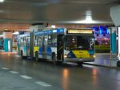 Photograph of a bus for line X95 (Syntagma Express) at Athens International Airport. Taken before sunrise.