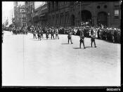 Australian Army soldiers marching along Macquarie Street, Sydney, 1914-1918
