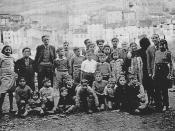 English: Residents of the War Resisters' International home in the French Pyrenees at Prats-de-Mollo, housing refugees from the Spanish Civil War, in the care of Professor José Brocca (pictured third from left).