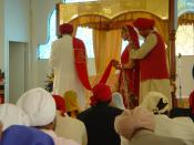 A Sikh couple getting married. Anand Karaj ceremony.