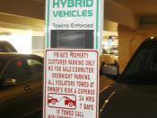 Reserver parking sign for hybrid vehicles at a major Shopping Mall in Northern Virginia, VA, USA