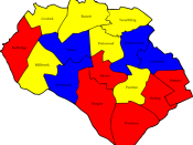English: A map of the results of the 2006 Southampton Council election. Colour legend by wards won: Liberal Democrats Labour party Conservative party