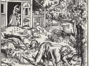 Werewolf, Wooodcut, 162 × 126 mm Español: Grabado medieval donde se muestra a un Hombre lobo Polski: Wilkołak, Lucas Cranach Starszy, 1512 r. Português: Werwolf, Lucas Cranach der Ältere, 1512. Distúrbios psiquiátricos podem ter dado origem ao mito dos lo