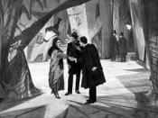 Still from the movie Das Cabinet des Dr. Caligari released 26 February 1920 in Germany, and March 19, 1921 in United States. Distributors were Decla-Bioscop in Germany and Goldwyn Distributing Company in the United States.