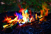English: copper wire on fire