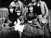 Friedrich Engels, Karl Marx and his wife Jenny, and their children Laura and Eleanor
