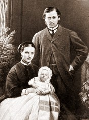 CDV of the future Edward VII as a young married man with his consort, the future Queen Alexandra, and their first born, Albert Victor.
