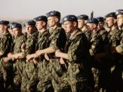 Russian paratroopers march in Kazakhstan.