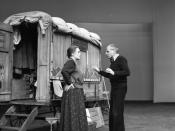 Gisela May as Mother Courage and director Manfred Wekwerth during a rehearsal of Bertolt Brecht's play Mother Courage and Her Children, Theater am Schiffbauerdamm, Berliner Festtage XXII