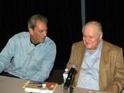 English: Paul Auster and John Ashbery at the 2010 Brooklyn Book Festival.